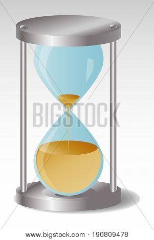 Glass Hourglass with metal hats Sand stops flowing