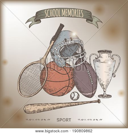 Antique color sport gear hand drawn sketch placed on old paper background. Vintage collection. Great for school, education, sport, retro design.