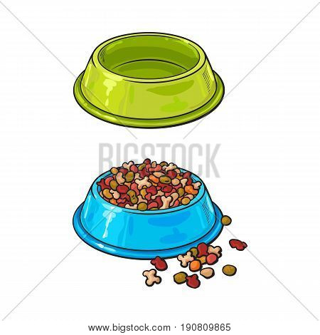 Two shiny plastic bowls, one empty, another filled with dry pet, cat, dog food, sketch vector illustration isolated on white background. Hand drawn bowls, plates for pet, dog, cat food, empty and full
