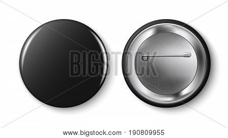 Black pin button vector. Collection of realistic pin buttons. White blank badge pin brooch isolated on white background. 3D vector style.  Web button.