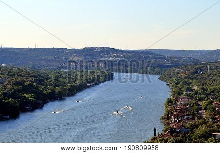 Beautiful view on Colorado river from Mount Bonnell, Austin, Texas.