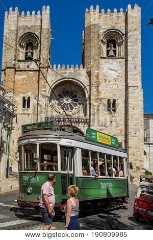 Lisbon Portugal. 05 June 2017.View of Lisbon town tram car in front of Se Cathedral in Alfama. Lisbon Portugal. photography by Ricardo Rocha.