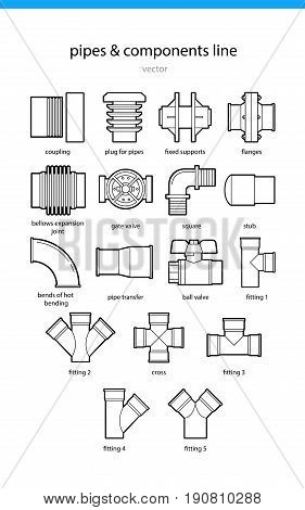 Set icon pipes and components line vector illustration