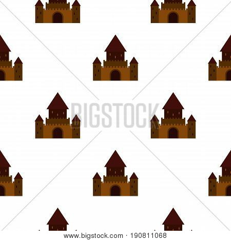 Ancient palace pattern seamless background in flat style repeat vector illustration
