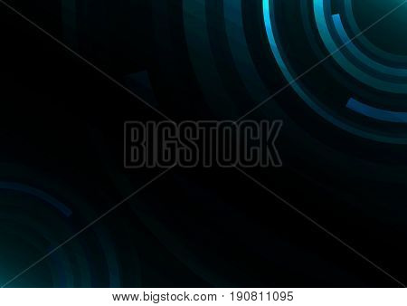 blue circle technology abstract background, round overlap digital template, vector illustration
