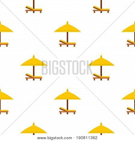 Bench and umbrella pattern seamless background in flat style repeat vector illustration