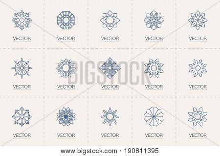Circular ornamental logo templates set. Vector linear arabic geometric symbols