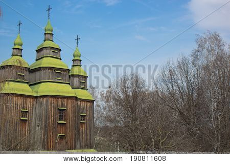 medieval ancient wooden church in the small village