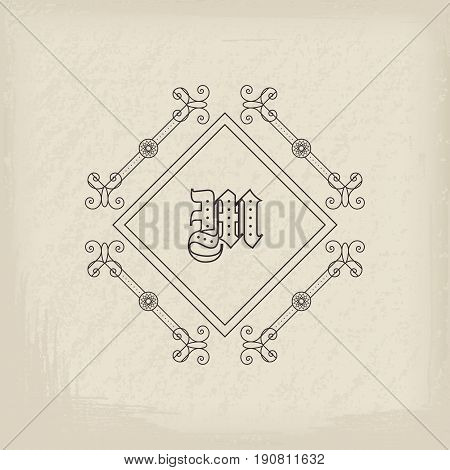 Vintage monogram. Vector emblem for calligraphic luxury logos and retro ornamental design.