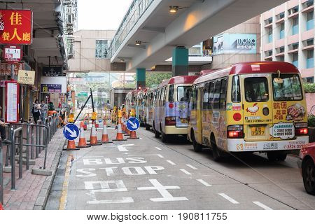 KOWLOON HONG KONG - APRIL 21 2017: Public Light Buses Transport at Mong Kok in Kowloon Hong Kong.
