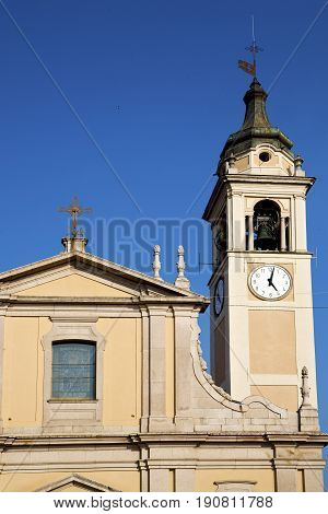 Castano Primo   T   Italy   The   Wall  And Church Tower Bell Sunny Day