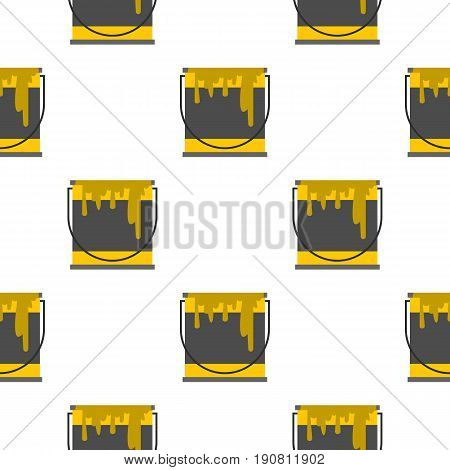Bucket of paint pattern seamless background in flat style repeat vector illustration
