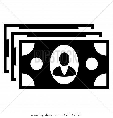 Banknotes vector icon. Flat black symbol. Pictogram is isolated on a white background. Designed for web and software interfaces.