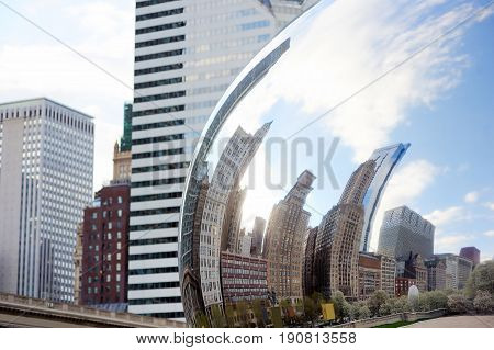 Part Of Cloud Gate And Chicago Skyline On April 23, 2015 In Chicago, Illinois. Cloud Gate Is The Art