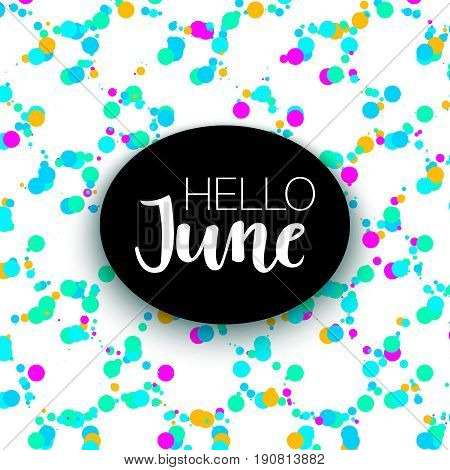 Summer neon memphis 80x background with dots texture. Minimal printable journaling card, creative card, art print, minimal label design for banner, poster, flyer. Hello June