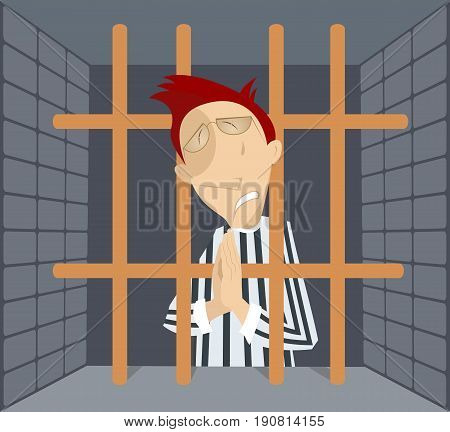 Man in jail cartoon. Crying prisoner behind the bars praying for forgiveness