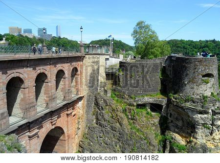 Pont du Chateau or the Castle Bridge and Bock Casemates, Luxembourg City, Luxembourg