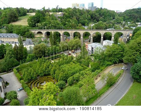 View of Luxembourg Lower City with Beautiful Garden and the Historic Viaduct, Luxembourg