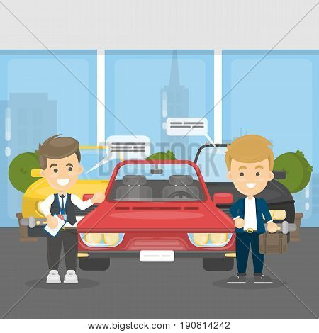 Buying cars at showroom. Sale agent and buyer with red car.