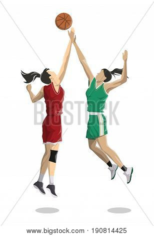 Women play basketball. Isolated characters on white background.