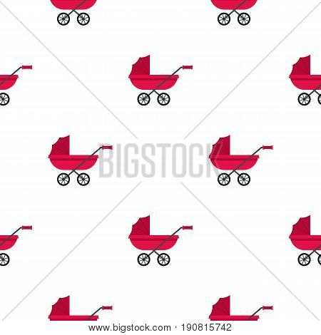Pram pattern seamless background in flat style repeat vector illustration