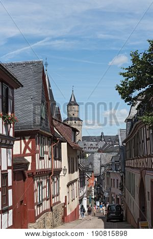 IDSTEIN, GERMANY-JUNE 12, 2017: View of the old town with witches tower, Hesse, Germany