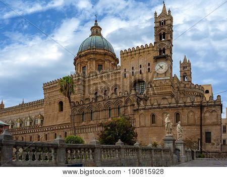 View of the the Cathedral of Palermo is an architectural complex in Palermo (Sicily Italy)