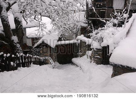 Residential area of Veliko Tarnovo in Bulgaria in the winter
