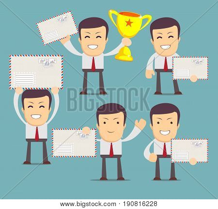 Man with envelope . Set. Stock vector illustration for poster, greeting card, website, ad, business presentation, advertisement design