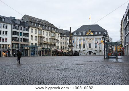 BONN GERMANY - FEBRUARY 21 2016: Old houses in Bonn a city on the banks of the Rhine in the German state of North Rhine-Westphalia Germany