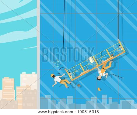 Workers cleaned the windows when the cable broke. Cleaning service. Vector illustration