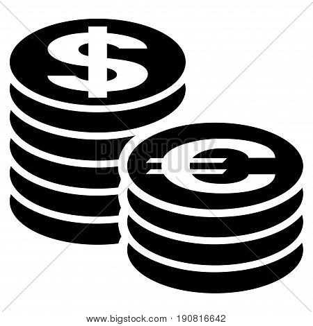 Euro And Dollar Coin Columns vector icon. Flat black symbol. Pictogram is isolated on a white background. Designed for web and software interfaces.