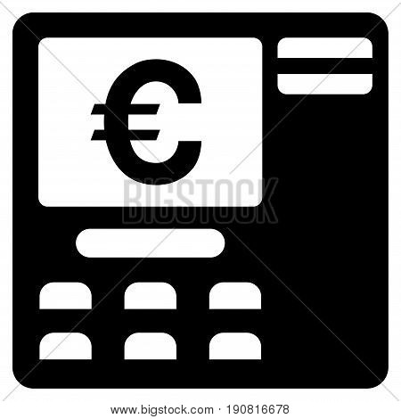 Euro ATM vector icon. Flat black symbol. Pictogram is isolated on a white background. Designed for web and software interfaces.