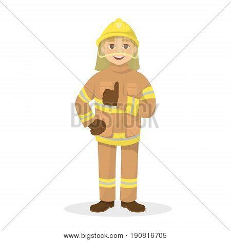 Isolated thumb up fireman on white background. Man in orange uniform.