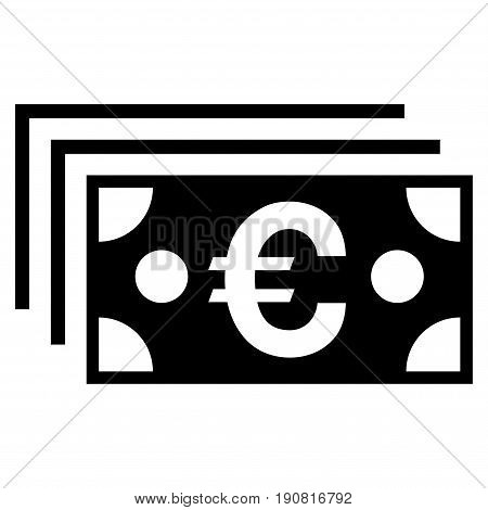 Euro Banknotes vector icon. Flat black symbol. Pictogram is isolated on a white background. Designed for web and software interfaces.