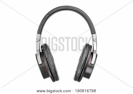 Headphones closeup 3D rendering isolated on white background