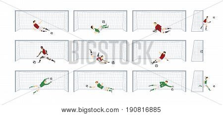 Soccer gates set on white background. Fooball player in uniform catching ball.
