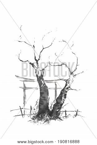 Japanese style sumi-e twin tree ink painting. Great for greeting cards or texture design.