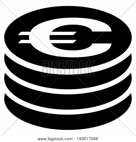 Euro Coin Column vector icon. Flat black symbol. Pictogram is isolated on a white background. Designed for web and software interfaces.