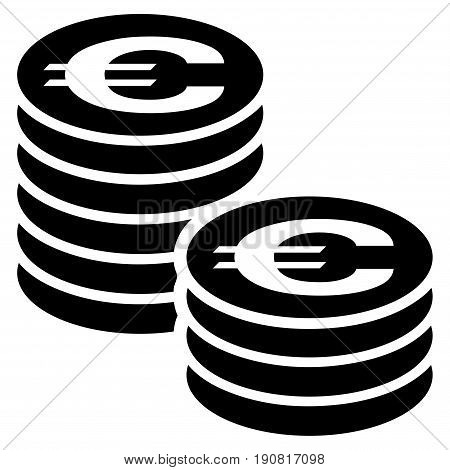 Euro Coin Columns vector icon. Flat black symbol. Pictogram is isolated on a white background. Designed for web and software interfaces.