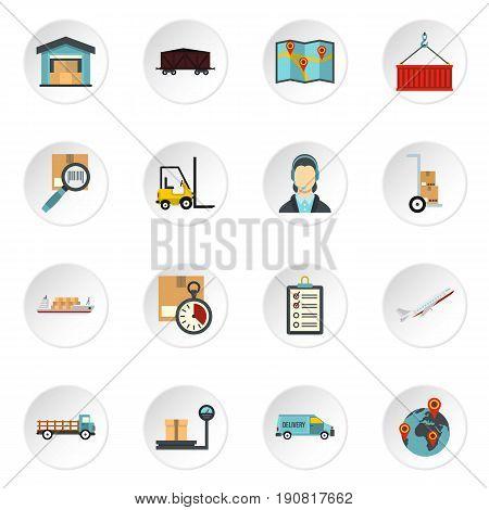 Logistic icons set. Flat illustration of 16 logistic vector icons set illustration