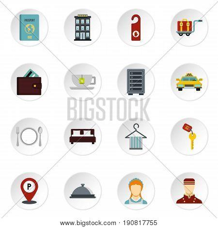 Hotel icons set. Flat illustration of 16 hotel vector icons set illustration
