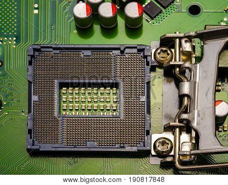 computer motherboard close up. Socket LGA 1155