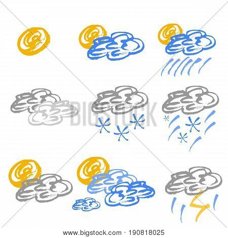 Set of colored weather icons in hand drawn technique and grunge style isolated on white. Vector illustration
