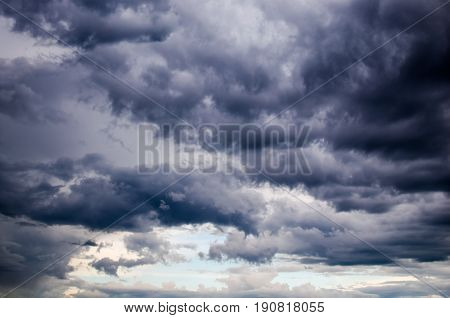 Storm clouds before a strong storm in the summer