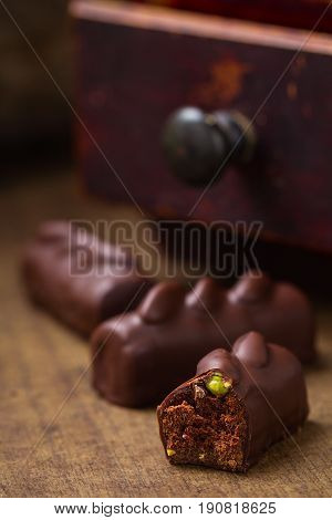 Cut Chocolate Candy With Pistachio