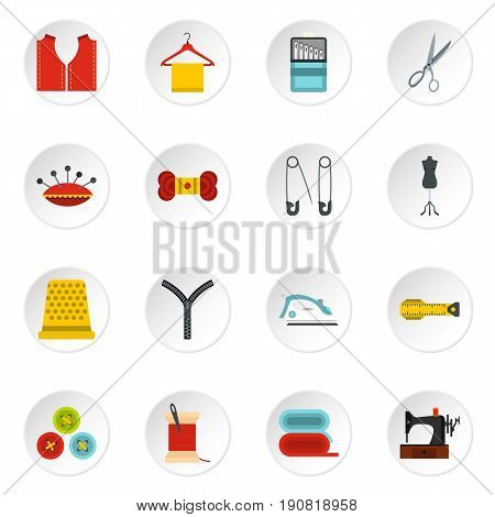 Sewing set icons in flat style isolated on white background