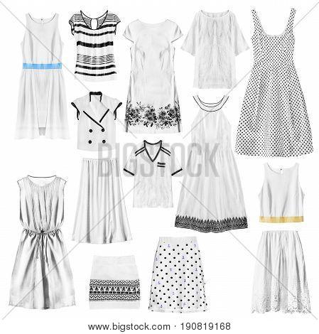 Set of white woman clothes on white background