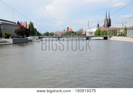 WROCLAW POLAND - MAY 14: General cityscape with Odra river with Provincial Office bridge and cathedral on May 14th 2017 in Wroclaw..