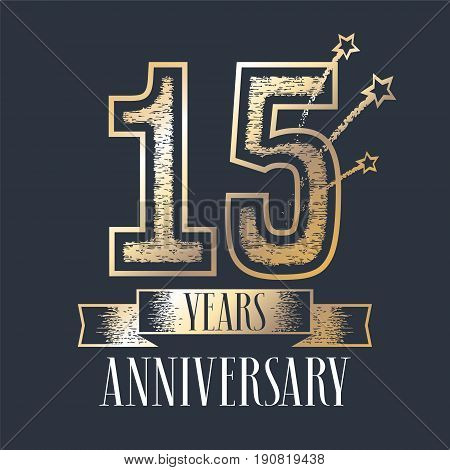 15 years anniversary vector icon logo. Graphic design element with ribbon and golden color and grunge texture number for 15th anniversary ceremony